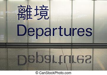 départ, chinois, signe