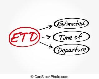 départ, fond, estimé, concept, temps, -, acronyme, etd