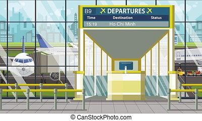 départ, ho, vol, ville, loopable, aéroport, dessin animé,...