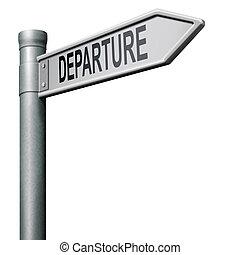 départ, panneaux signalisations, flèche