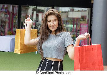 département, store., girl, achats