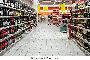département, supermarché, vin