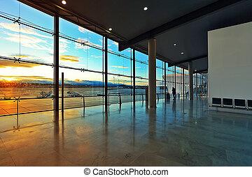départs, aéroport., fenêtre, salle, valence