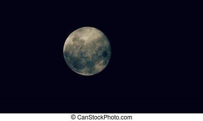 dépassement, entiers, nuages, derrière, lune