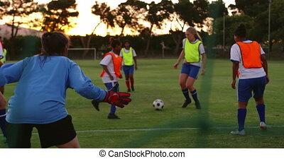 dépassement, football, femme, quoique, joueur boule, 4k, bas...