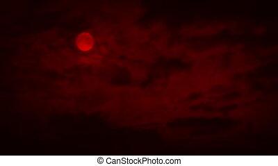 dépassement, nuages, rouges, lune