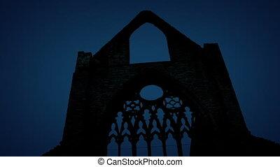 dépassement, ruines, abbaye, nuit