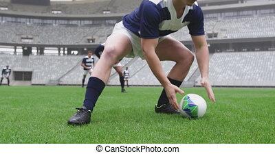 dépassement, terrestre, rugby, stade, balle, mâle, joueur, 4k
