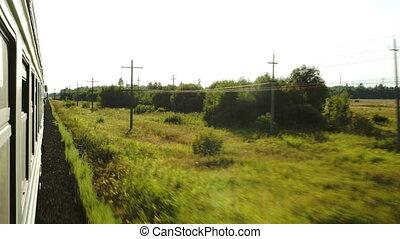 dépassement, train, paysage mouvement