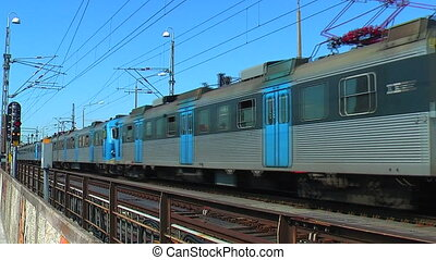 dépassement, train, stockholm, banlieusard