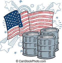 dépendance, américain, croquis, huile