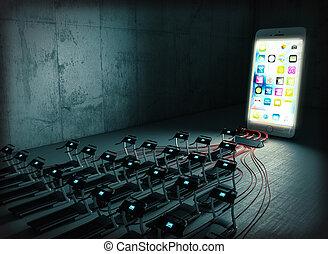 dépendance, concept, smartphone