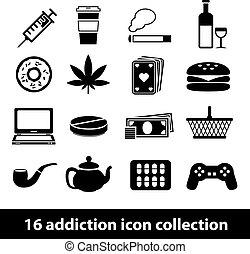 dépendance, icônes