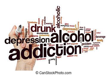 dépendance, mot, alcool, nuage