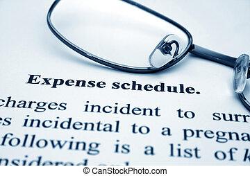 dépense, horaire