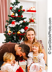 dépenser, arbre, deux, parents, temps, noël, filles