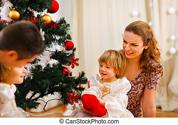 dépenser, arbre, noël, temps famille
