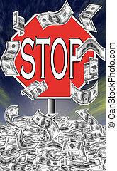 dépenser, arrêt, déficit