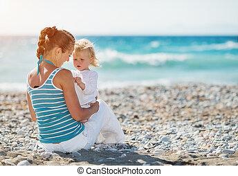 dépenser, bébé, temps, plage, mère