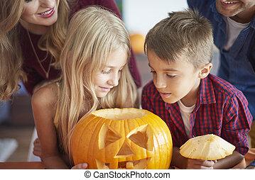 dépenser, entier, halloween, famille