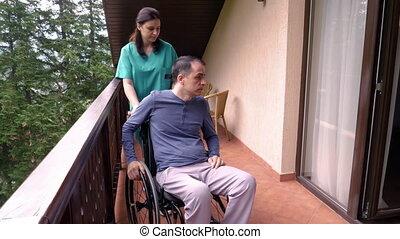 dépenser, fauteuil roulant, jeune, triste, temps, infirmière, homme