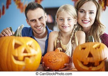 dépenser, halloween, famille, aimer