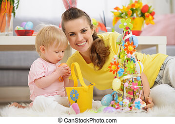 dépenser, mère, ensemble, temps, bébé, paques