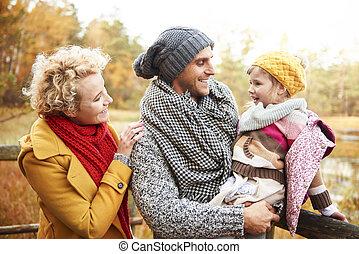 dépenser, parc, ensemble, temps famille