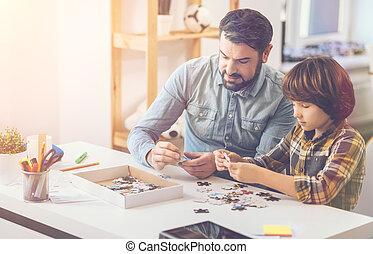 dépenser, positif, père, ensemble, fils, agréable, temps