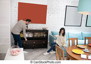 dépenser, temps, meubles, femme homme, salon