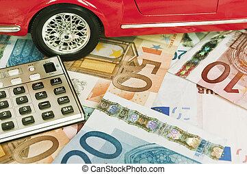 dépenses voiture, concept, -