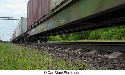 déplacer bas page, par, train, fret, station