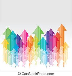déplacer haut, coloré, transparent, arro
