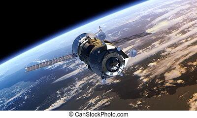 déployer, vaisseau spatial, panneaux solaires, cargaison