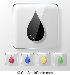 dépot pétrole, eau, icône, ou, sanguine