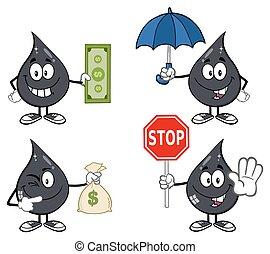 dépot pétrole, pétrole, collection, 5, ou
