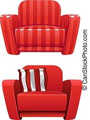 dépouillé, doux, rouges, fauteuil