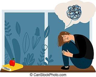 dépression, concept, femme