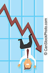 dépression, tomber, économique, /, business