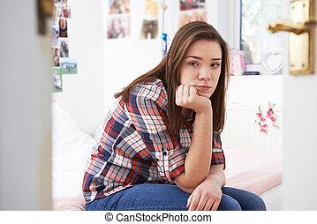 déprimé, adolescent, chambre à coucher, girl, séance