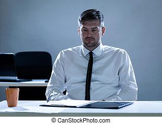 déprimé, bureau, homme