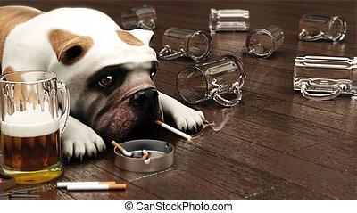 déprimé, chien