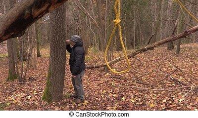 déprimé, corde à piquet, arbre, gibet, homme