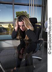 déprimé, elle, bureau