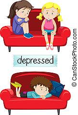 déprimé, ensemble, enfants