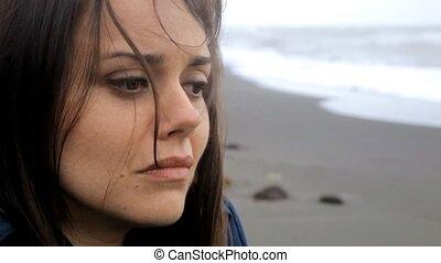 déprimé, femme pleure