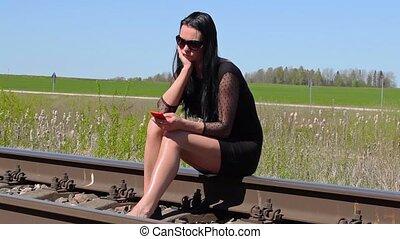 déprimé, ferroviaire, séance femme