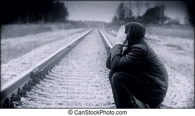 déprimé, garçon, ferroviaire