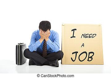 déprimé, homme affaires, chercher travail