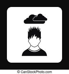 déprimé, icône, style, simple, homme